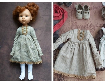 Clothes for custom doll Cotton doll dress with lace Vintage dress /& longsleev for Paola Reina doll