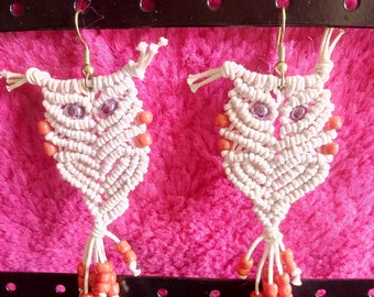 Macrame owls - Earrings - cotton & pearls