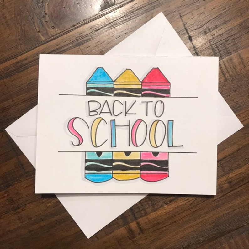 Back to School Card with Crayons image 0