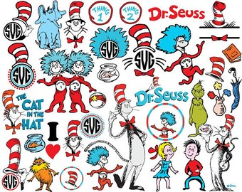 Cat in the Hat SVG, Cat in the Hat Files, Dr. Seuss Files, Cut Files   Cricut Silhouette, Printable Decal, Dr Seuss Svg,, Clipart