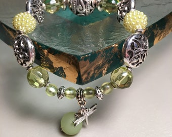 Handmade Glass and Acrylic Beaded Bracelet in Lime Green and Silver Accents