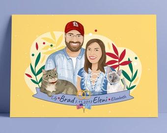 Custom Portrait ,Personalized gift ,family portrait ,wedding portrait,couple portrait,anniversary portrait , pet portrait, illustration