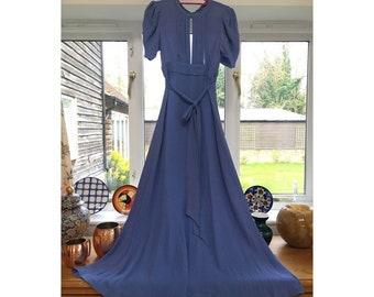d5bcba5cf33 Vintage 1970s Ossie Clark for Radley Blue Moss Crepe Maxi Dress (S) UK 8