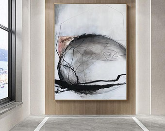 modern abstract painting large oil painting original abstract artwork extra large wall art abstract black and white wall art on canvas EM232