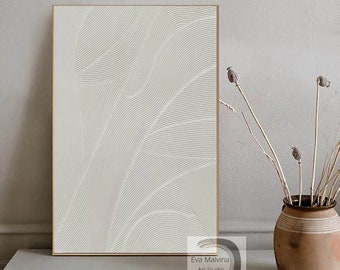 white painting on canvas, large abstract canvas art, 3D textured painting, original oil painting abstract, oversized wall art on canvas E26