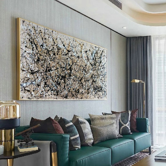 extra large canvas art, large neutral wall art, large acrylic art, acrylic  pour painting, large abstract painting, contemporary wall artEM14