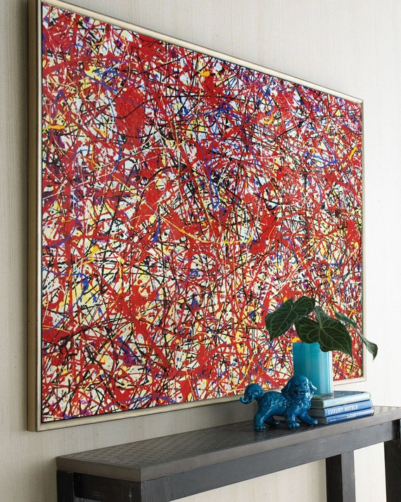 Jackson Pollock Painting Style Extra Large Oil Painting Acrylic Drip Painting Splatter Paint Artist Red Dripping Pouring Art Em225
