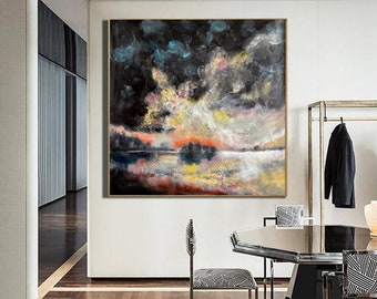 original paintings on canvas abstract, black painting, extra large wall art canvas, abstract acrylic painting, modern abstract canvas art E2