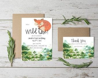 Wild One, Woodland, Fox and Pine, Birthday, Printable, Digital File