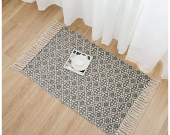 Boho style eco friendly non slip woven rug doormat rugs bohemian recycled cotton