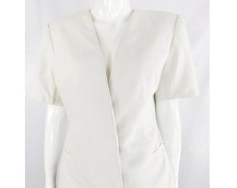 Mary McFadden Collection White Linen and Cotton Open Style Jacket
