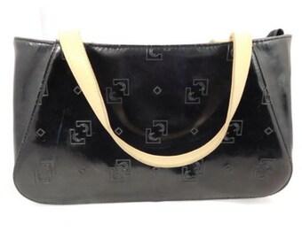 L. Credi Black Embossed Monogram German Handbag