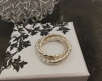 Silver twisted russian wedding band