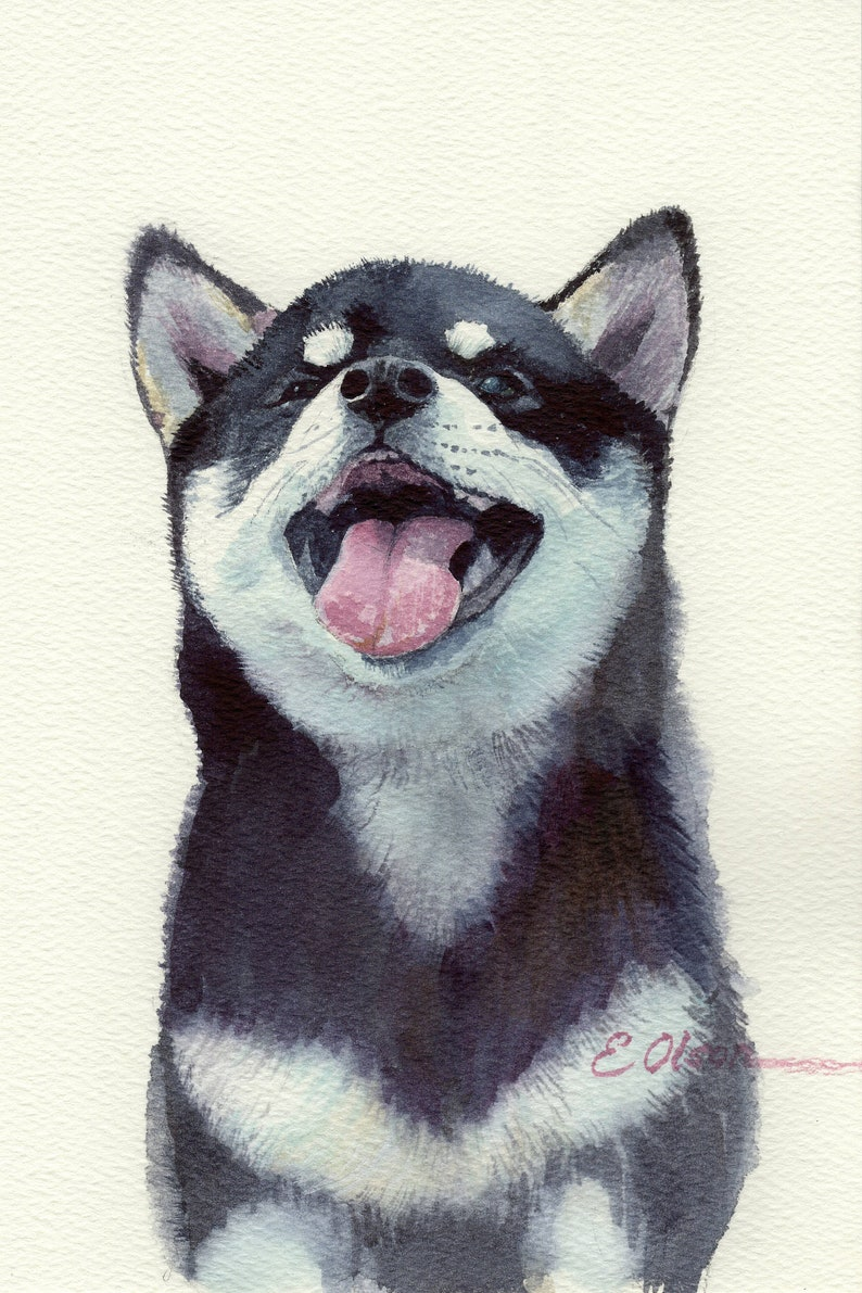ORIGINAL watercolor painting Watercolor Alaskan Malamute image 0
