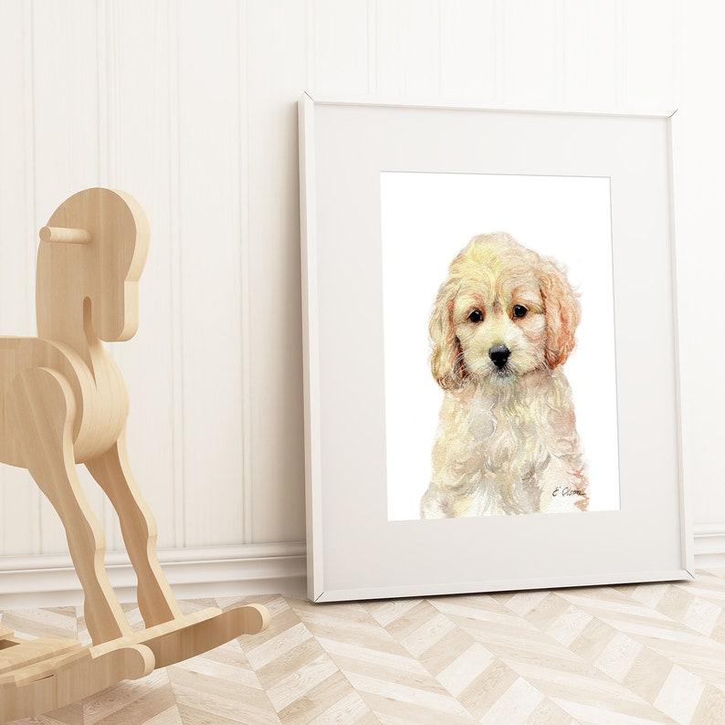 Watercolor Cockapoo puppy, Cockapoo art print, PRINTABLE, Nursery Cockapoo  decor, Animal art, Baby animal prints, Nursery puppy wall art