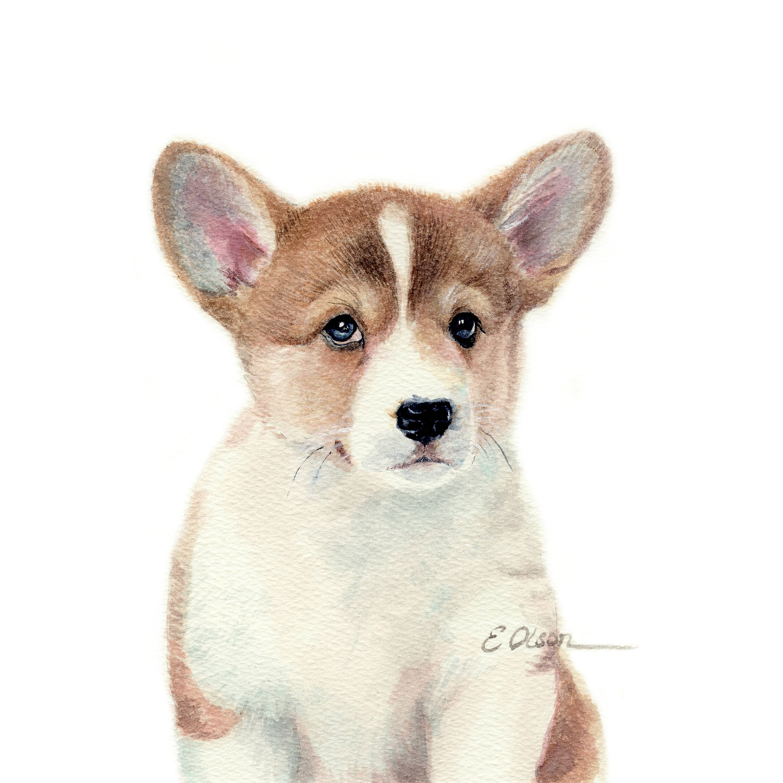 Watercolor Corgi puppy, Pembroke Welsh Corgi Watercolor, PRINTABLE, Animal  art, Baby animal prints, Nursery wall art, Puppy watercolor print
