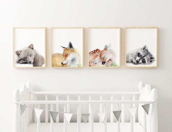 Woodland Animals Nursery Art Prints Set of 4 Sleeping
