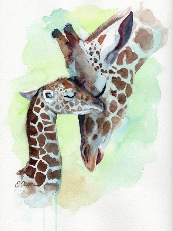 Giraffe Art Print Giraffe Nursery Art Wall Art Baby Room Decor Safari Nursery Decor Sleeping Giraffe Watercolor Safari Baby Animal