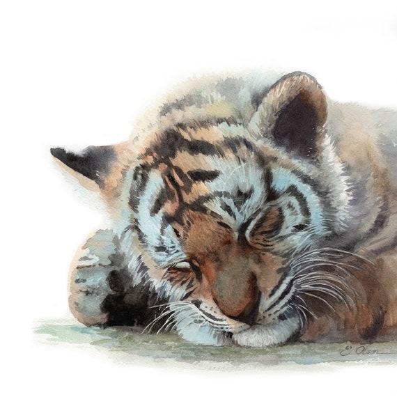 WATERCOLOR tiger, Baby tiger cub Nursery wall art, PRINTABLE, Nursery  decor, Sleeping baby tiger painting, safari animal, Baby animal prints