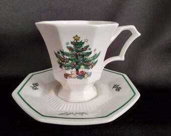 Perfect Gift for Holidays Circa 1990s Vintage Nikko Christmastime Tea Set Choose from 3 Tea PotCream /& SugarCups and Saucers