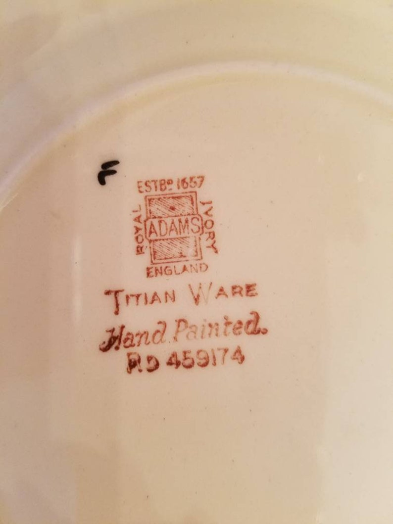 produced early 1900/'s Beautifully detailed. set of 6 Rare Vintage Adams England Royal Ivory Titian Ware 6 14 Bread Plates