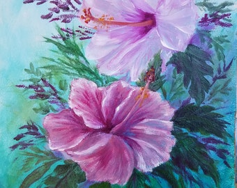 9x12 inch acrylic painting of 2 Hibiscus flowers