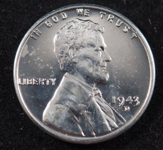 1943 D Lincoln Wheat Cent (BU) Steel Penny Brilliant Uncirculated US Coin