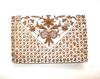 26cdc98fc165 Edwardian, hand bag,purse, silk, embroidered,gold metallic,pearls, hand  made, antique,vintage