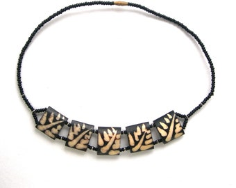 Bone necklace, hand made, genuine,vintage,bib necklace