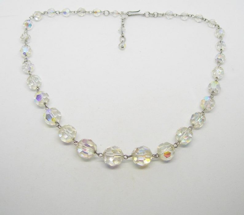 crystal necklace adjustable,wires sparkling beaded vintage Art Deco era