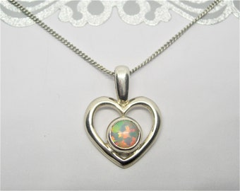 Sterling silver opal heart pendant