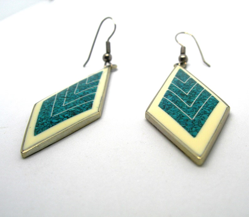 drop earrings turquoise mosaic Vintage Mexican alpaca,hand made