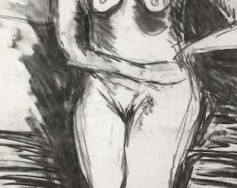 Original Life drawing in pastel