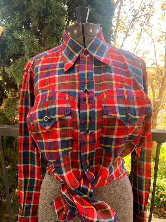 Vintage 1950's Custom Made Plaid Western Shirt - image 3