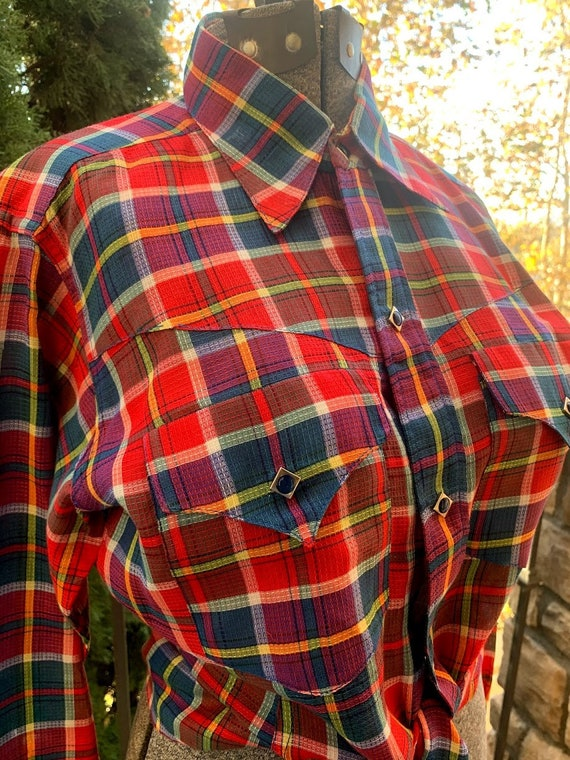 Vintage 1950's Custom Made Plaid Western Shirt - image 6