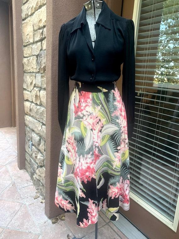 Vintage 1950's Hawaiian Barkcloth Skirt - image 5