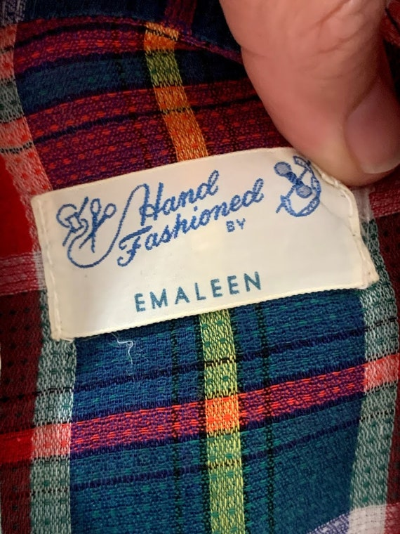 Vintage 1950's Custom Made Plaid Western Shirt - image 10