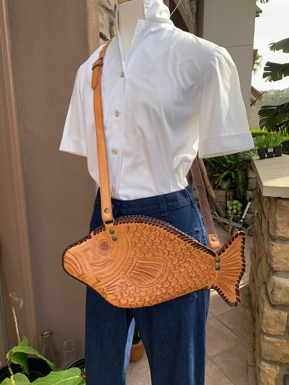 "Vintage Leather Tooled ""Fish"" Purse"