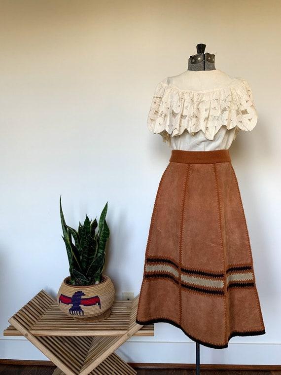 Vintage 1970's Brown Suede Skirt
