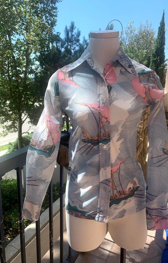 Vintage Novelty Print Poly Shirt