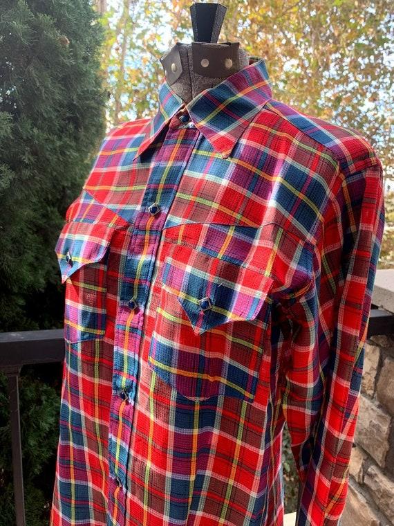 Vintage 1950's Custom Made Plaid Western Shirt - image 7