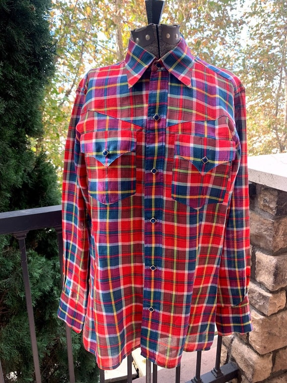 Vintage 1950's Custom Made Plaid Western Shirt - image 2