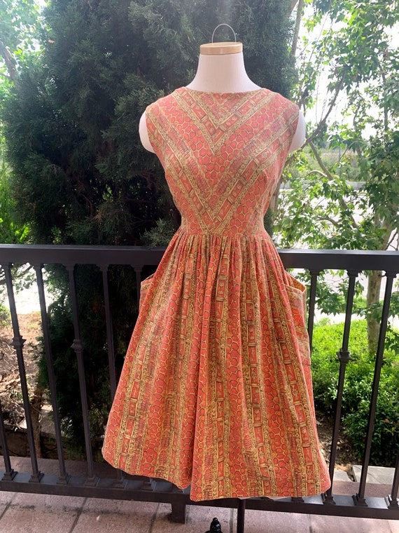 Vintage 1950's Novelty Print Dress - image 8