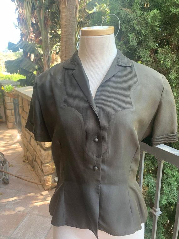 Vintage 1950's Black Silk Western Blouse - image 5