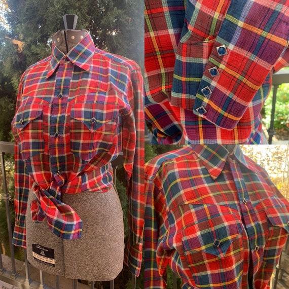 Vintage 1950's Custom Made Plaid Western Shirt - image 1