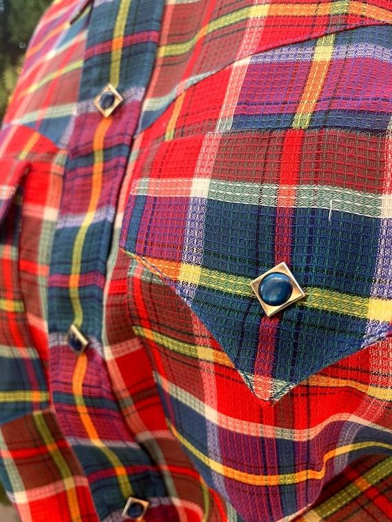 Vintage 1950's Custom Made Plaid Western Shirt - image 8