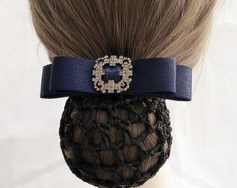 Horse show hair bun cover Sassy Bun Netting and beading options Gray Velvet and Clear Opalescent Czech Beads