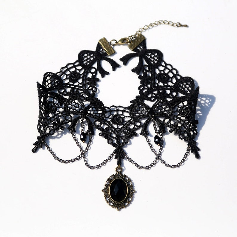 Black Ribbon Flower Lace Choker Necklace with Chain