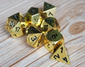dnd dice set-Gold Finish Set-7 Piece Dice Set for Dungeons and Dragons-RPG dice-dnd dice set-Heavy Gold Solid Metal Polyhedral D D Dice