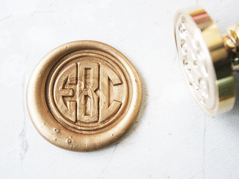 3 Initials Monogram Letters Personalized Wax Seal Stamp Kit
